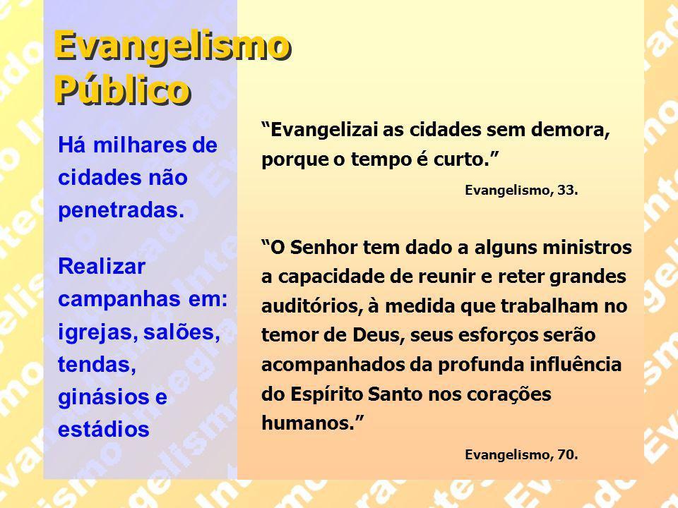 Evangelismo Público Há milhares de cidades não penetradas.