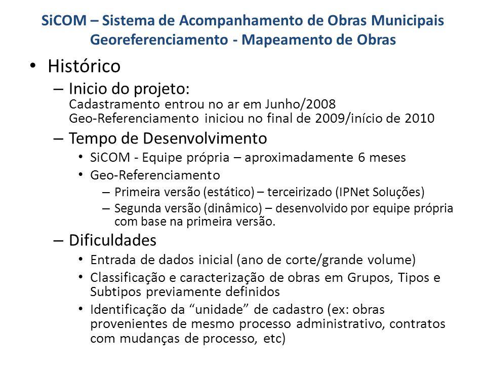 SiCOM – Sistema de Acompanhamento de Obras Municipais Georeferenciamento - Mapeamento de Obras