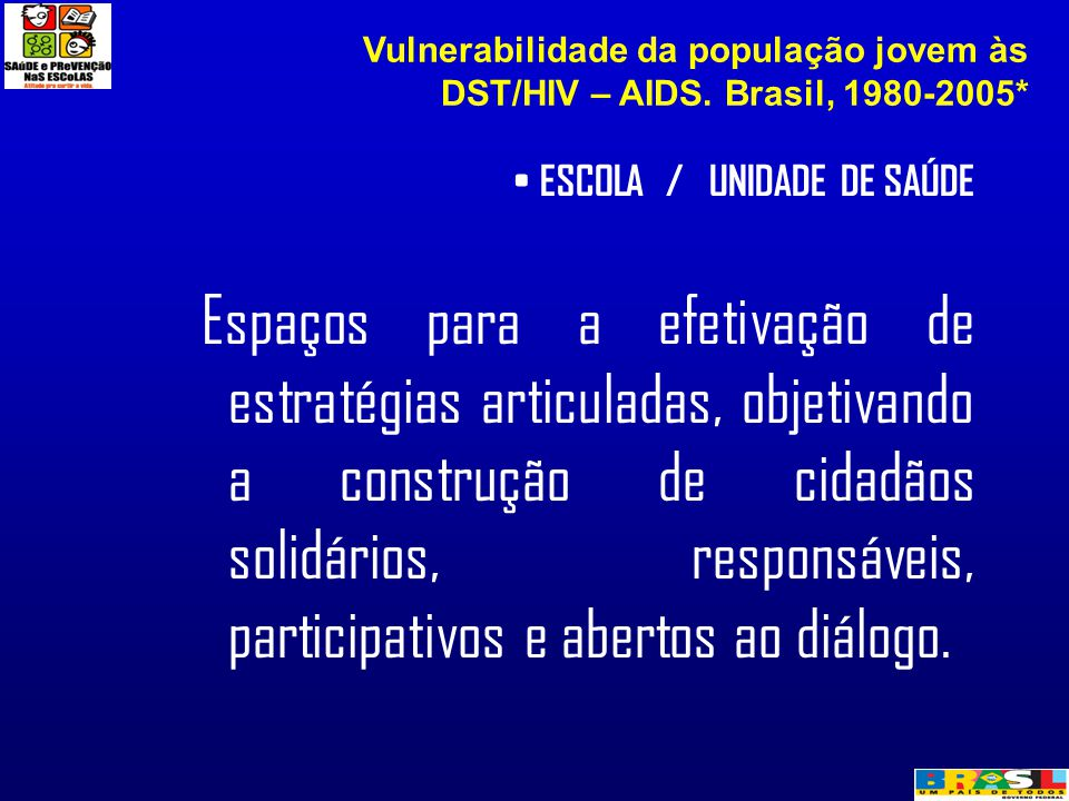 Vulnerabilidade da população jovem às DST/HIV – AIDS. Brasil, 1980-2005*