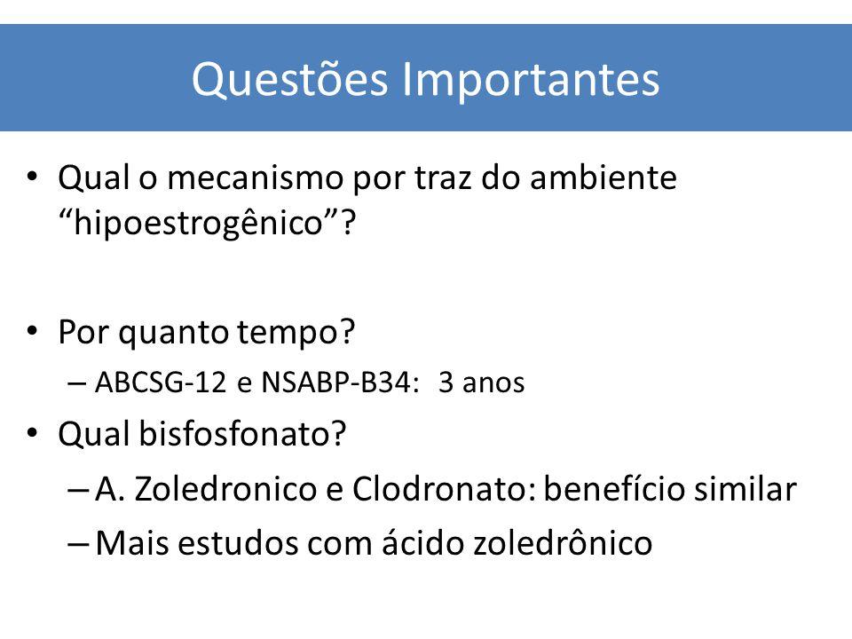 Questões Importantes Qual o mecanismo por traz do ambiente hipoestrogênico Por quanto tempo ABCSG-12 e NSABP-B34: 3 anos.