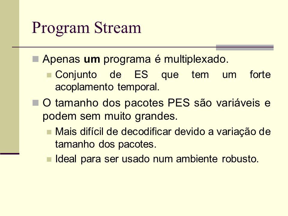 Program Stream Apenas um programa é multiplexado.