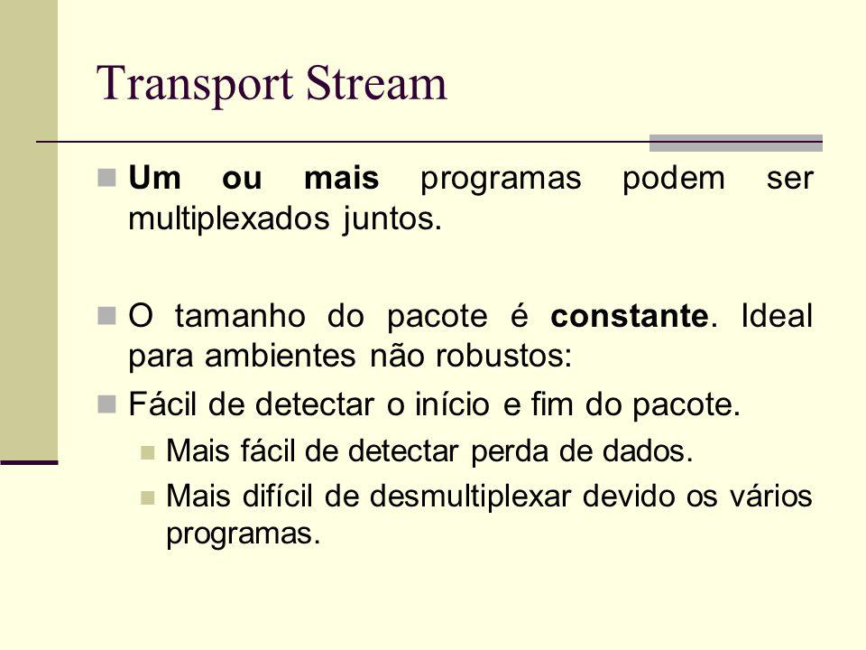 Transport Stream Um ou mais programas podem ser multiplexados juntos.