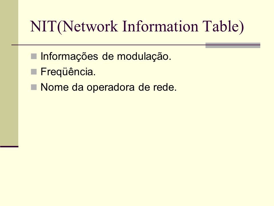 NIT(Network Information Table)