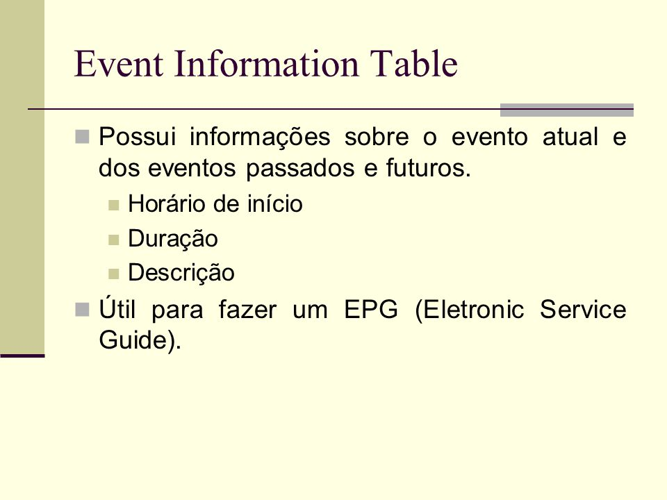 Event Information Table