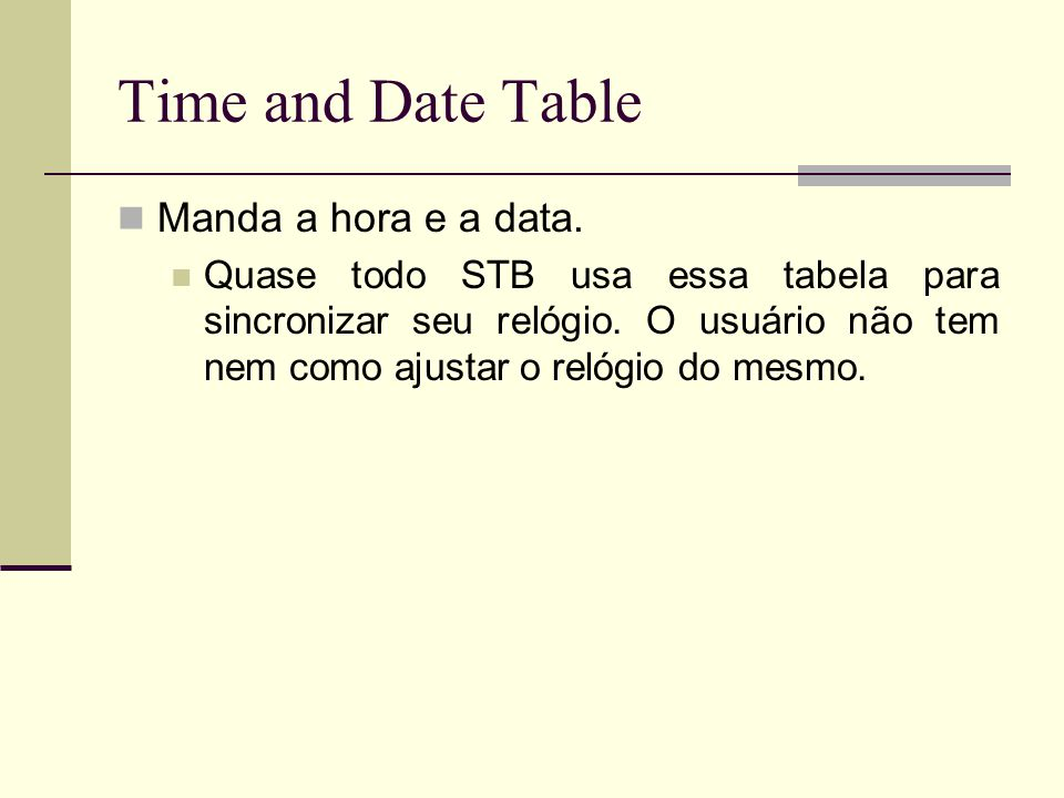 Time and Date Table Manda a hora e a data.