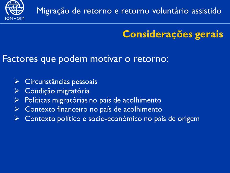 Migração de retorno e retorno voluntário assistido