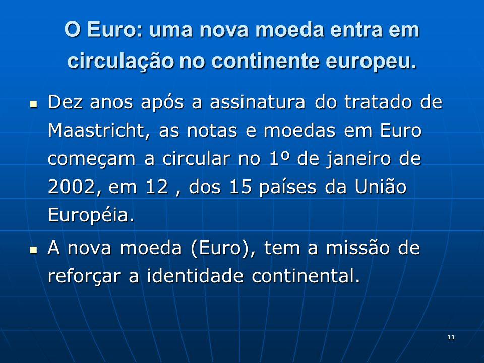 O Euro: uma nova moeda entra em circulação no continente europeu.