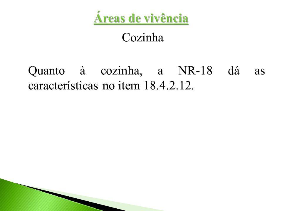 Áreas de vivência Cozinha Quanto à cozinha, a NR-18 dá as características no item 18.4.2.12.