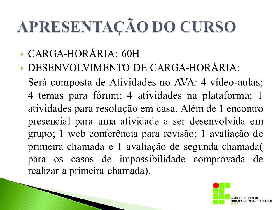 APRESENTAÇÃO DO CURSO CARGA-HORÁRIA: 60H. DESENVOLVIMENTO DE CARGA-HORÁRIA: