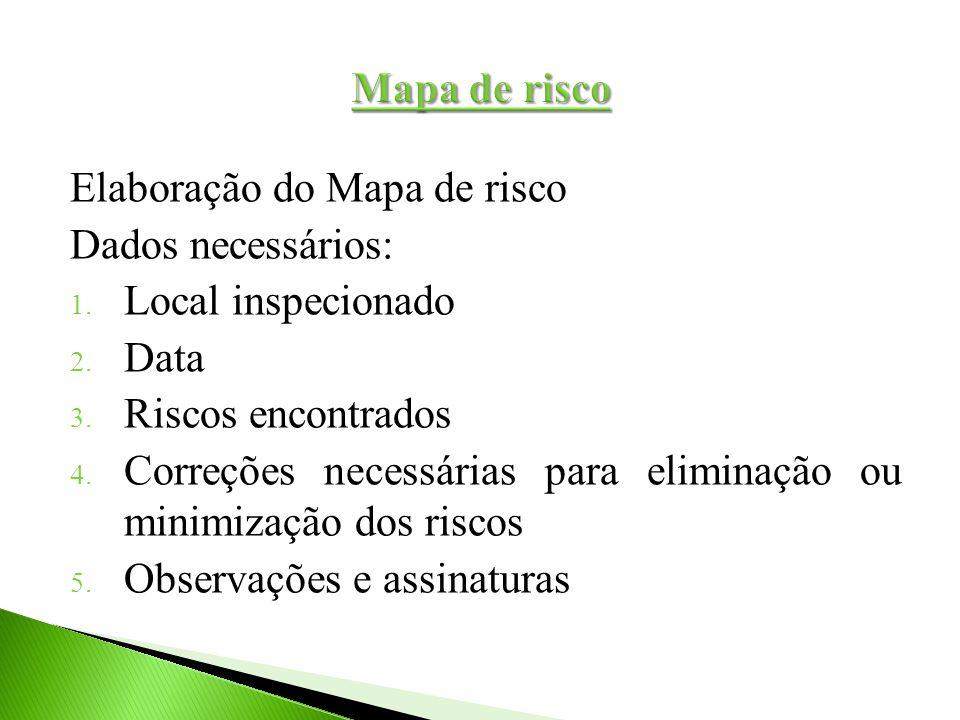 Mapa de risco Elaboração do Mapa de risco. Dados necessários: Local inspecionado. Data. Riscos encontrados.