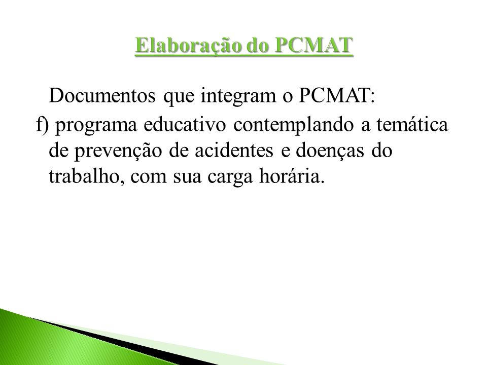 Elaboração do PCMAT