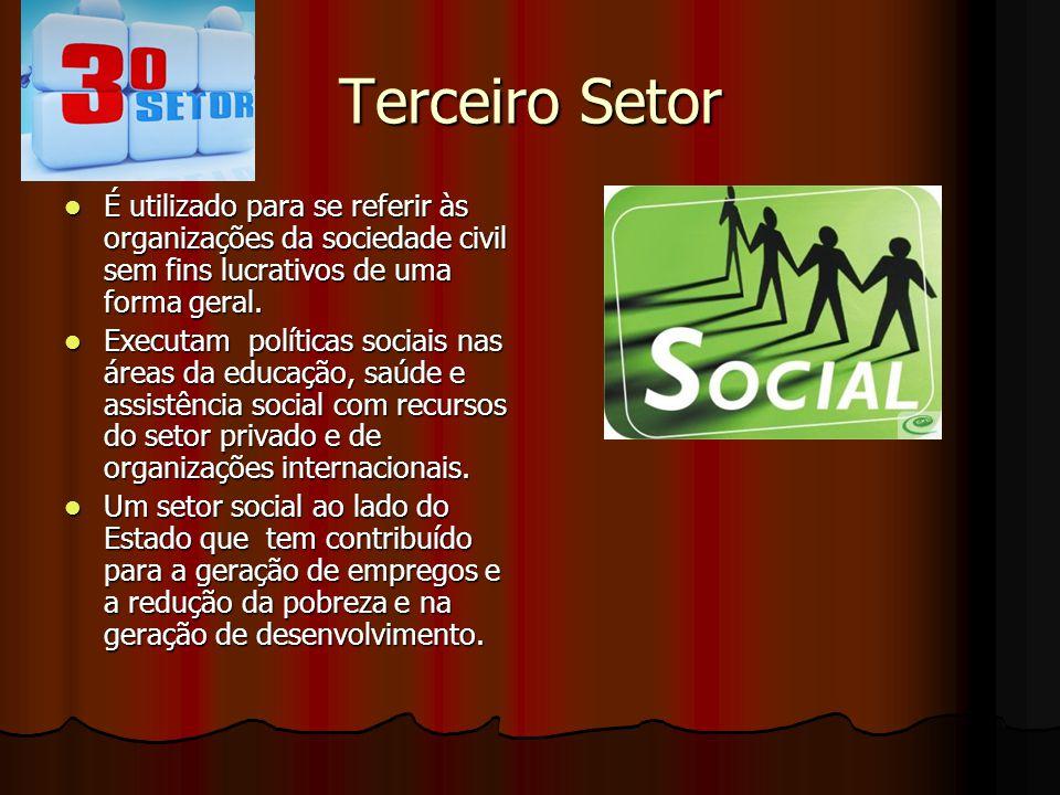 Terceiro Setor É utilizado para se referir às organizações da sociedade civil sem fins lucrativos de uma forma geral.