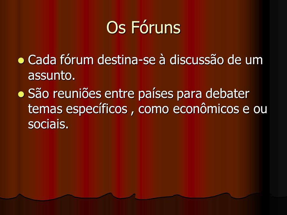 Os Fóruns Cada fórum destina-se à discussão de um assunto.