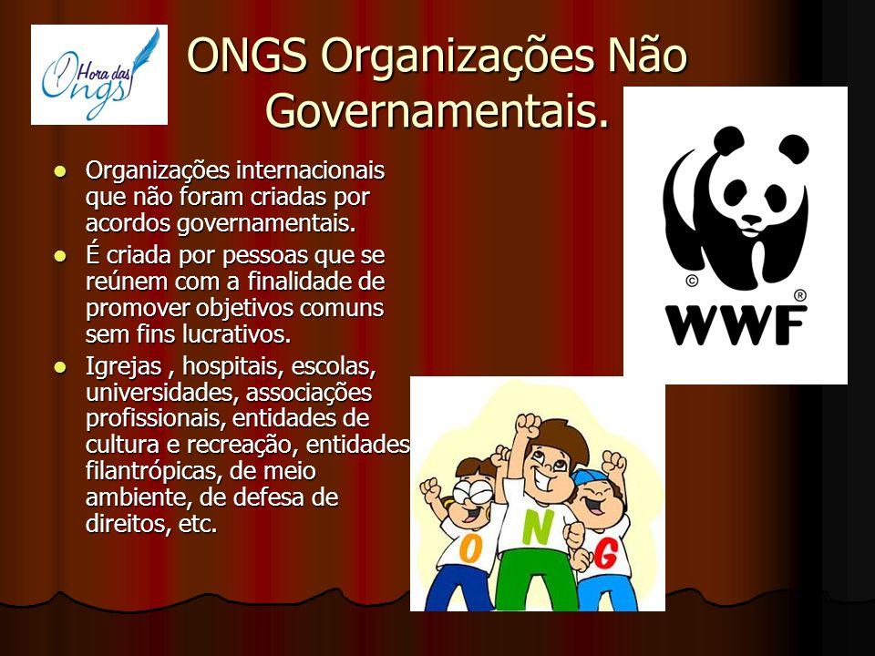 ONGS Organizações Não Governamentais.