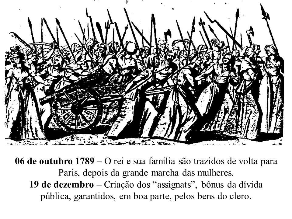 06 de outubro 1789 – O rei e sua família são trazidos de volta para Paris, depois da grande marcha das mulheres.