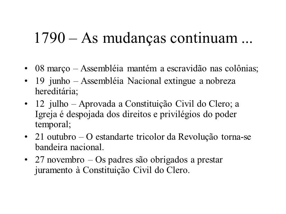 1790 – As mudanças continuam ...