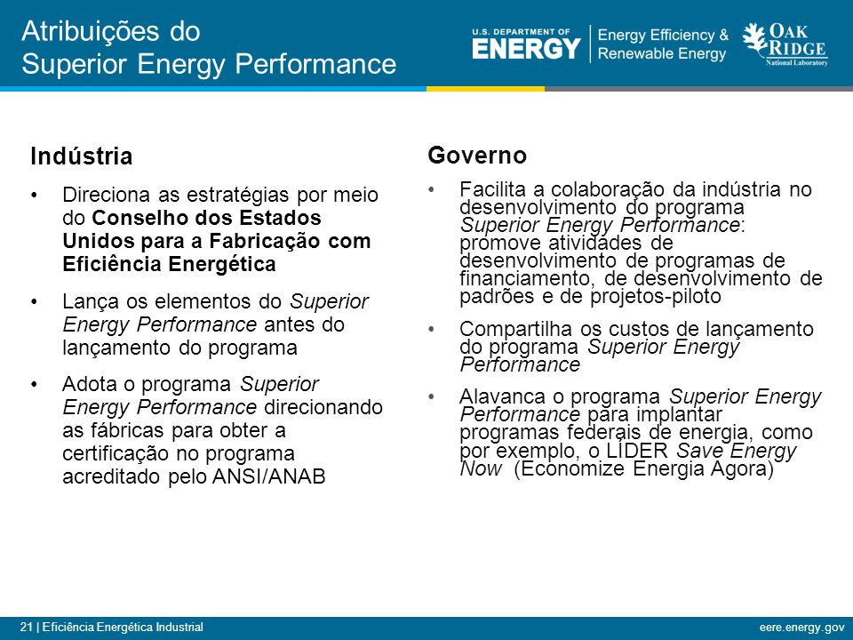 Atribuições do Superior Energy Performance