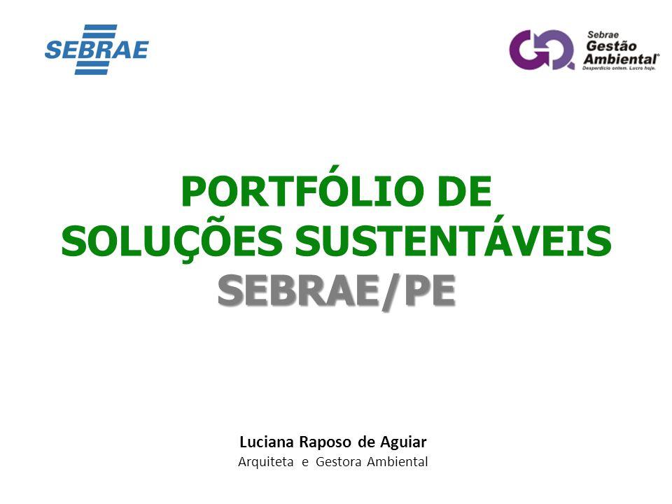 SOLUÇÕES SUSTENTÁVEIS SEBRAE/PE Luciana Raposo de Aguiar