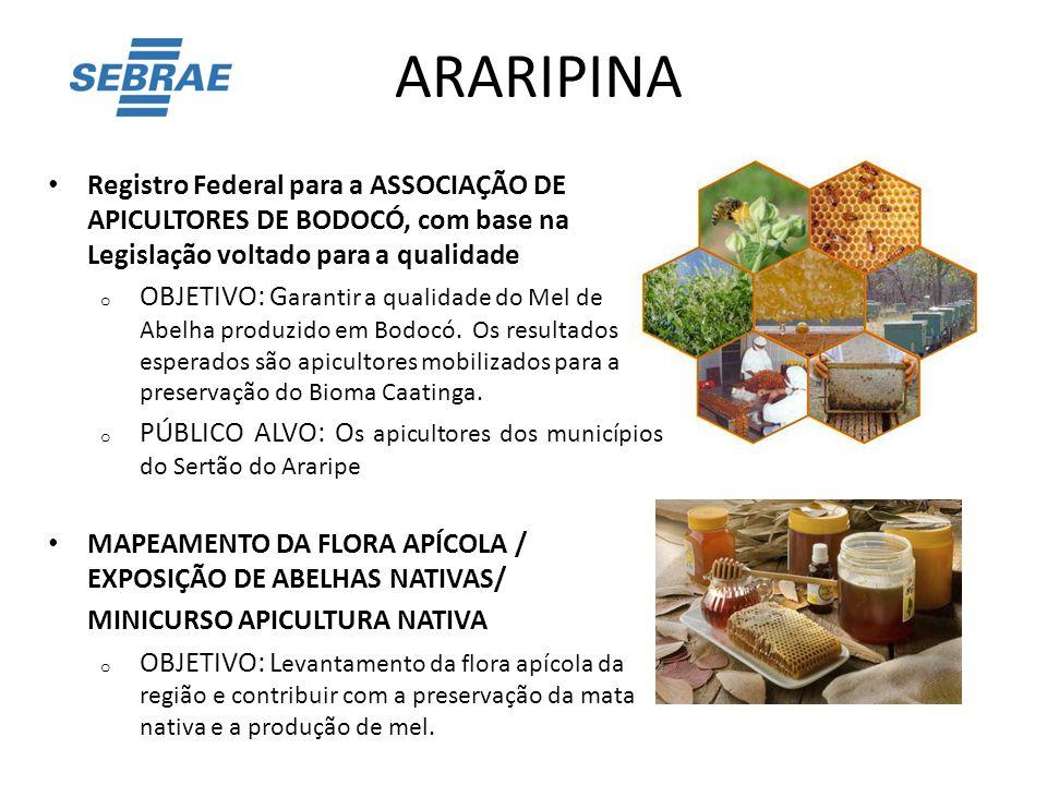 ARARIPINA Registro Federal para a ASSOCIAÇÃO DE APICULTORES DE BODOCÓ, com base na Legislação voltado para a qualidade.