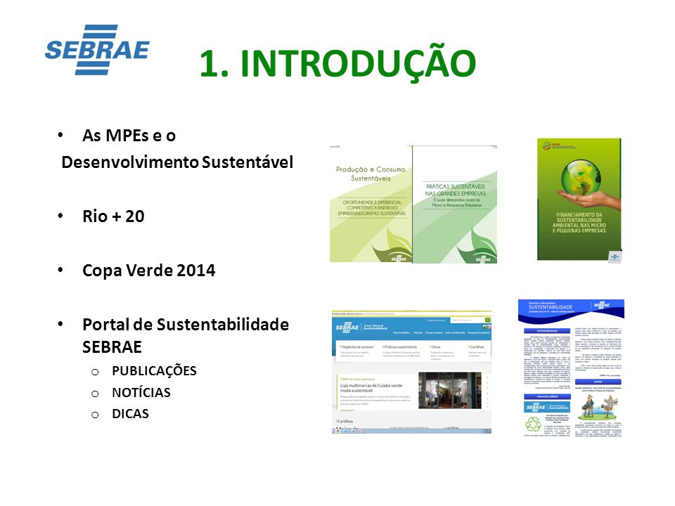 1. INTRODUÇÃO As MPEs e o Desenvolvimento Sustentável Rio + 20