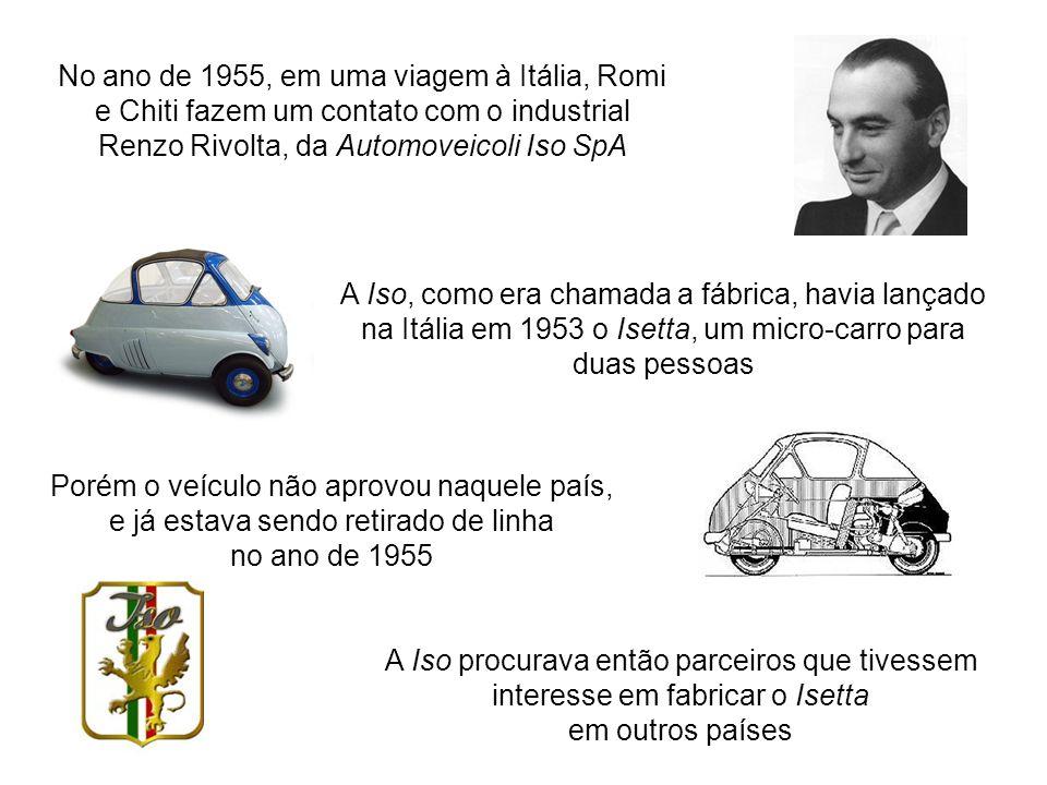 No ano de 1955, em uma viagem à Itália, Romi e Chiti fazem um contato com o industrial Renzo Rivolta, da Automoveicoli Iso SpA