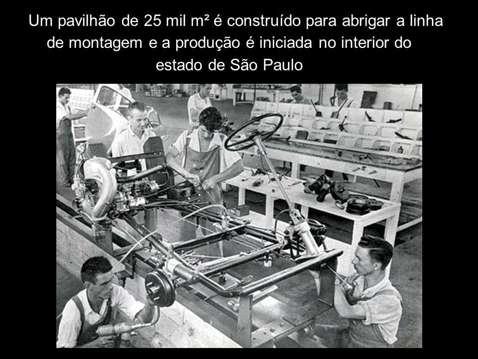 Um pavilhão de 25 mil m² é construído para abrigar a linha de montagem e a produção é iniciada no interior do estado de São Paulo