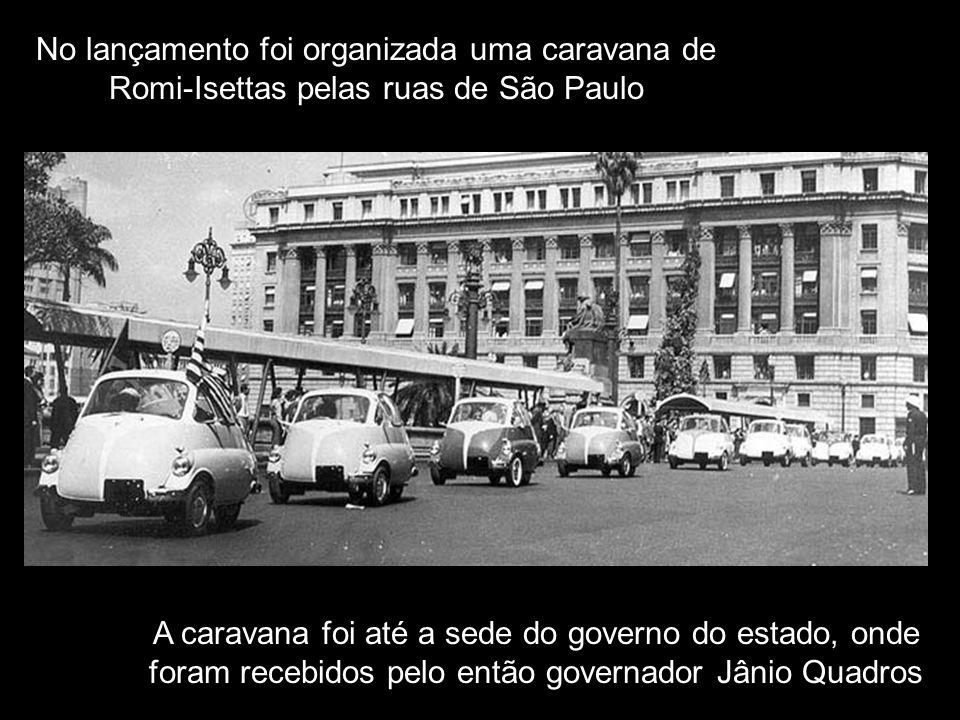 No lançamento foi organizada uma caravana de Romi-Isettas pelas ruas de São Paulo