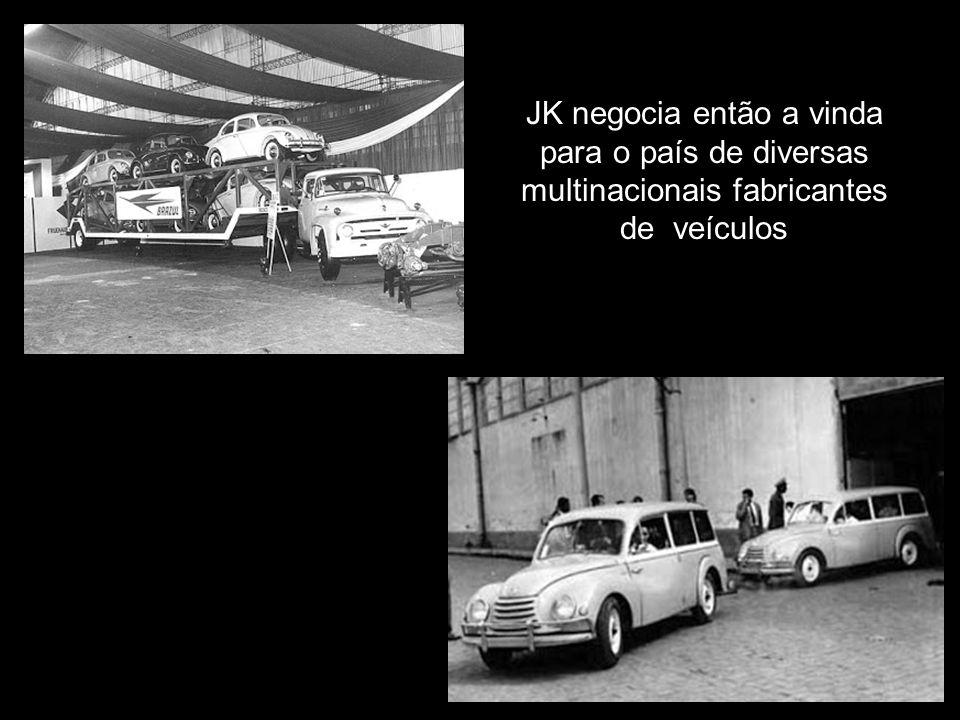 JK negocia então a vinda para o país de diversas multinacionais fabricantes de veículos