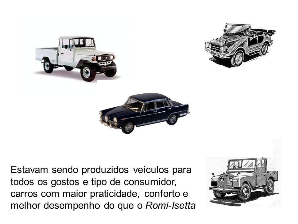 Estavam sendo produzidos veículos para todos os gostos e tipo de consumidor, carros com maior praticidade, conforto e melhor desempenho do que o Romi-Isetta