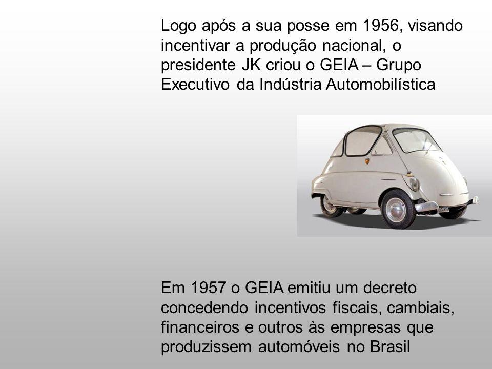 Logo após a sua posse em 1956, visando incentivar a produção nacional, o presidente JK criou o GEIA – Grupo Executivo da Indústria Automobilística