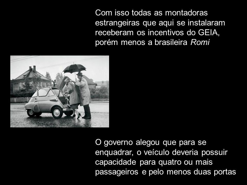Com isso todas as montadoras estrangeiras que aqui se instalaram receberam os incentivos do GEIA, porém menos a brasileira Romi