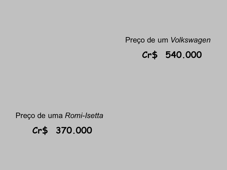 Preço de um Volkswagen Cr$ 540.000 Preço de uma Romi-Isetta Cr$ 370.000