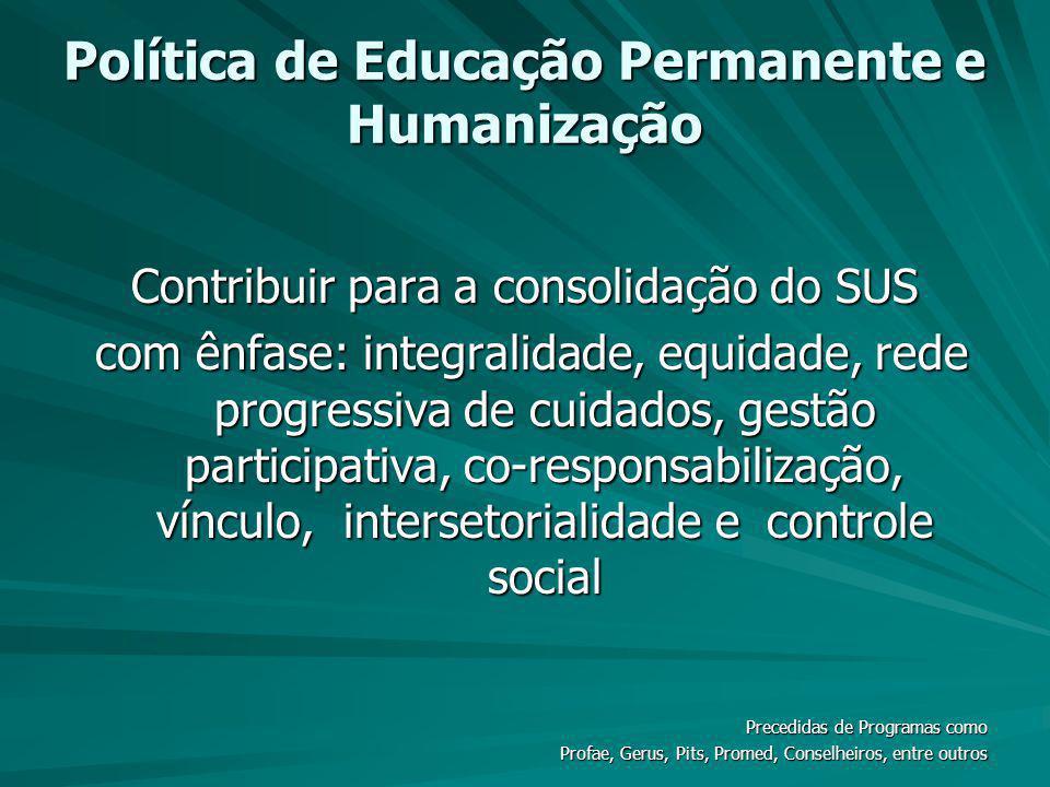 Política de Educação Permanente e Humanização