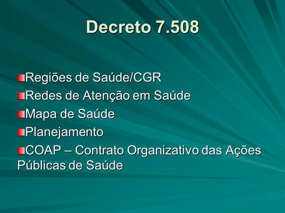 Decreto 7.508 Regiões de Saúde/CGR Redes de Atenção em Saúde
