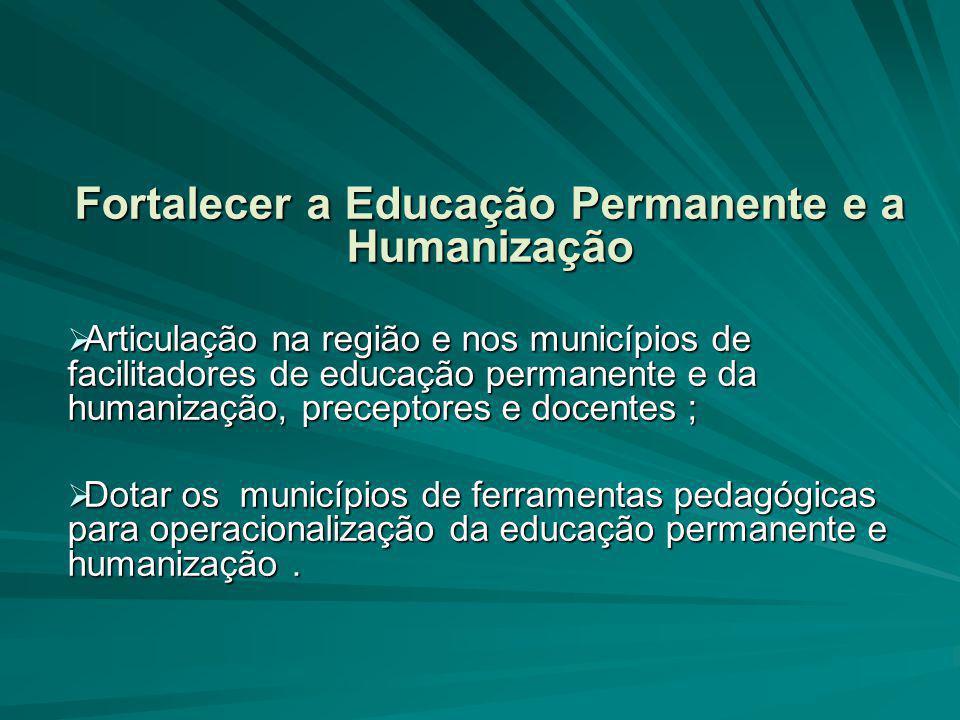 Fortalecer a Educação Permanente e a Humanização