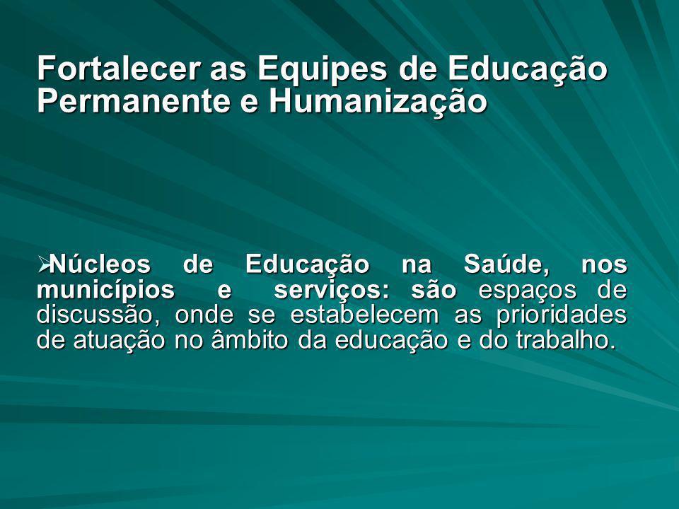 Fortalecer as Equipes de Educação Permanente e Humanização