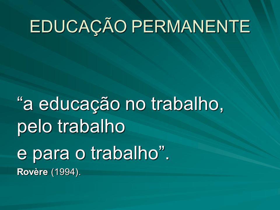a educação no trabalho, pelo trabalho e para o trabalho .