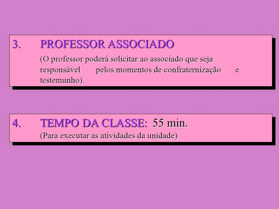 3. PROFESSOR ASSOCIADO (O professor poderá solicitar ao associado que seja responsável pelos momentos de confraternização e testemunho).