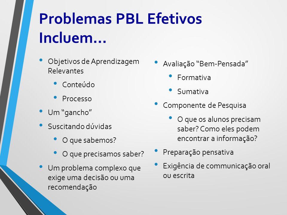 Problemas PBL Efetivos Incluem…