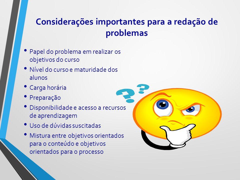 Considerações importantes para a redação de problemas