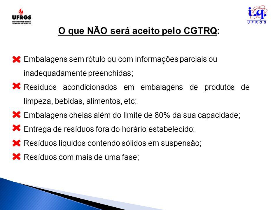 O que NÃO será aceito pelo CGTRQ: