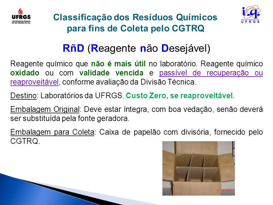 Classificação dos Resíduos Químicos para fins de Coleta pelo CGTRQ