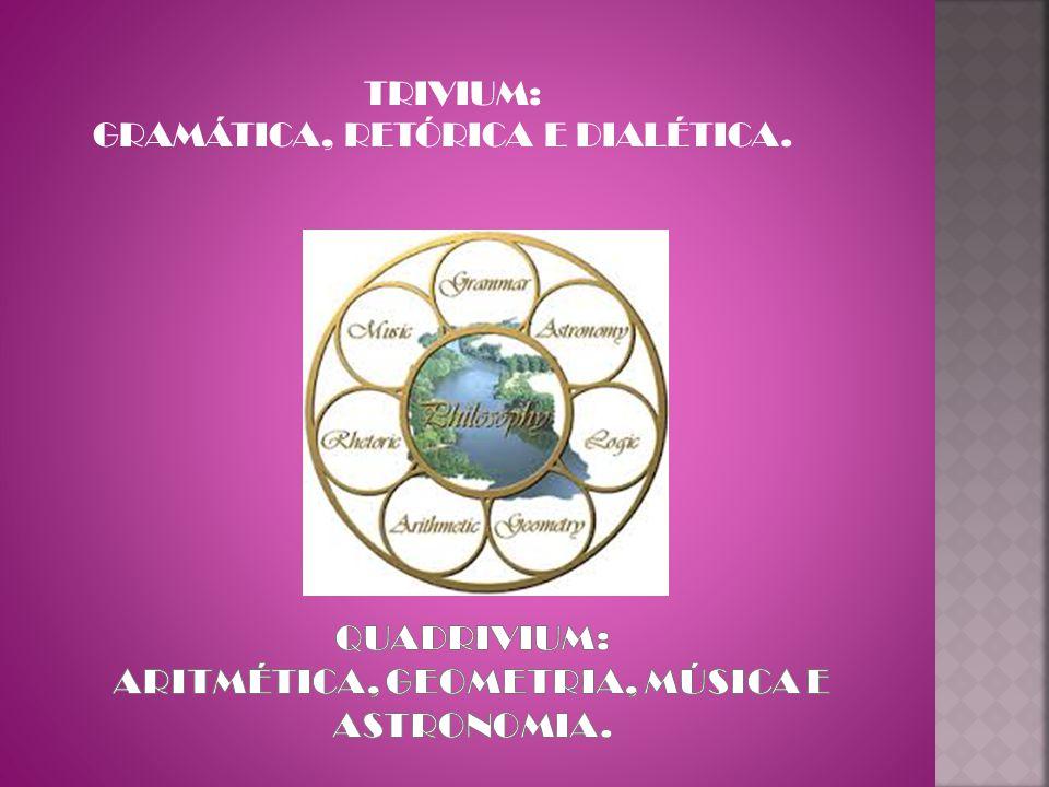 quadrivium: aritmética, geometria, música e astronomia.
