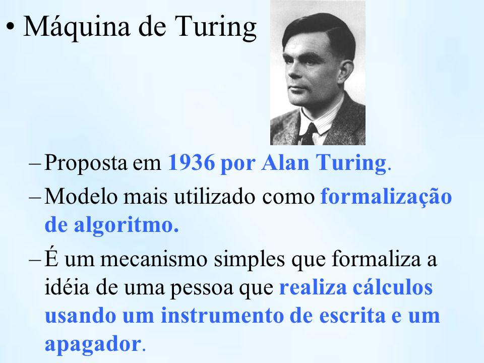 Máquina de Turing Proposta em 1936 por Alan Turing.