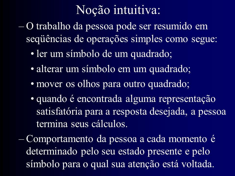 Noção intuitiva: O trabalho da pessoa pode ser resumido em seqüências de operações simples como segue: