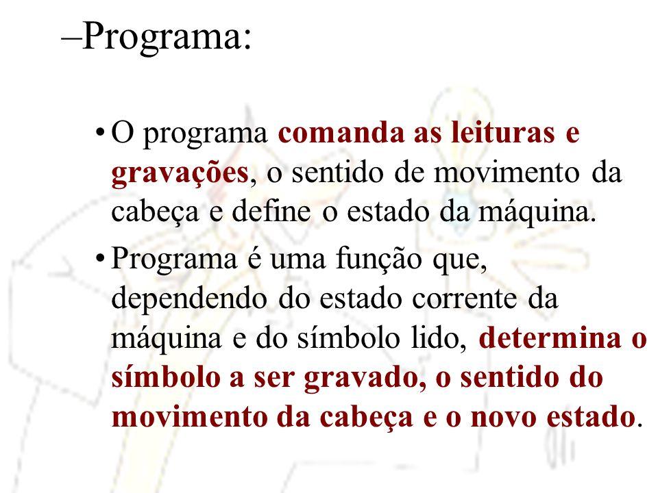 Programa: O programa comanda as leituras e gravações, o sentido de movimento da cabeça e define o estado da máquina.
