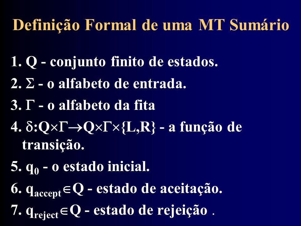 Definição Formal de uma MT Sumário