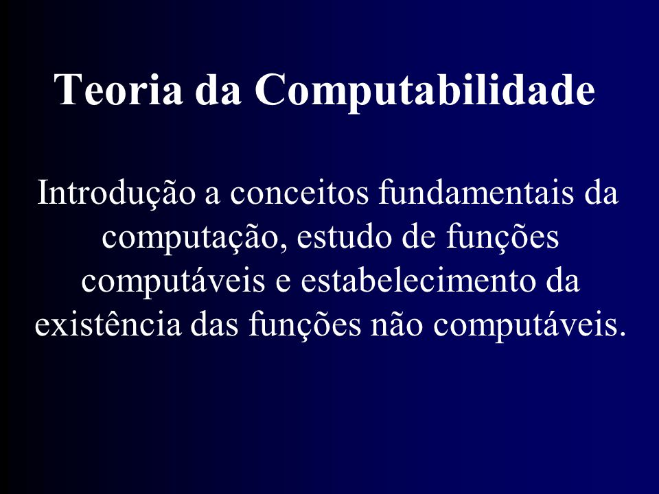Teoria da Computabilidade
