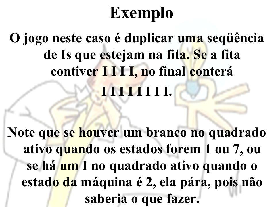 Exemplo O jogo neste caso é duplicar uma seqüência de Is que estejam na fita. Se a fita contiver I I I I, no final conterá.