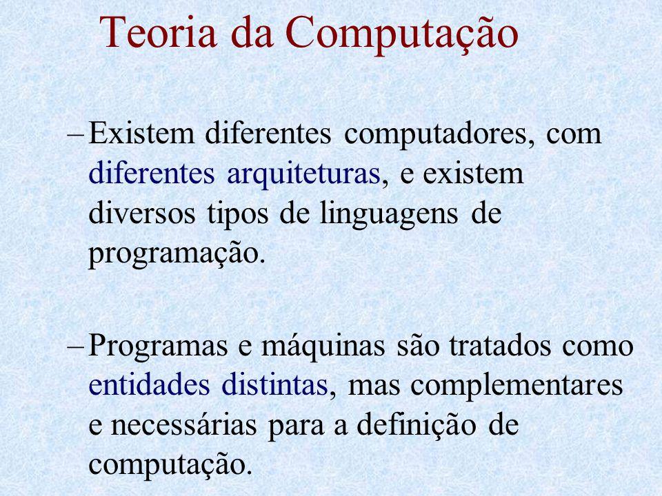 Teoria da Computação Existem diferentes computadores, com diferentes arquiteturas, e existem diversos tipos de linguagens de programação.